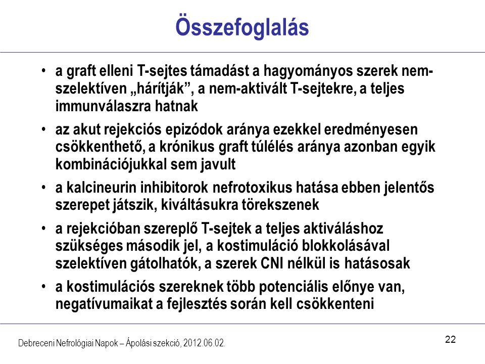 """22 Összefoglalás Debreceni Nefrológiai Napok – Ápolási szekció, 2012.06.02. a graft elleni T-sejtes támadást a hagyományos szerek nem- szelektíven """"há"""