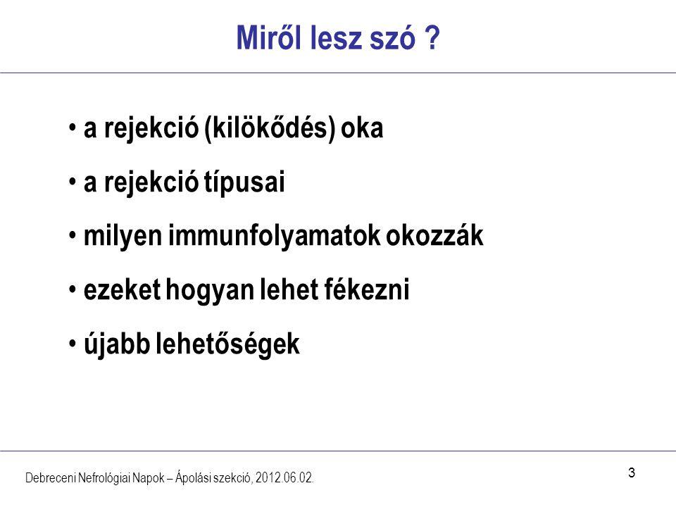 3 Miről lesz szó ? Debreceni Nefrológiai Napok – Ápolási szekció, 2012.06.02. a rejekció (kilökődés) oka a rejekció típusai milyen immunfolyamatok oko