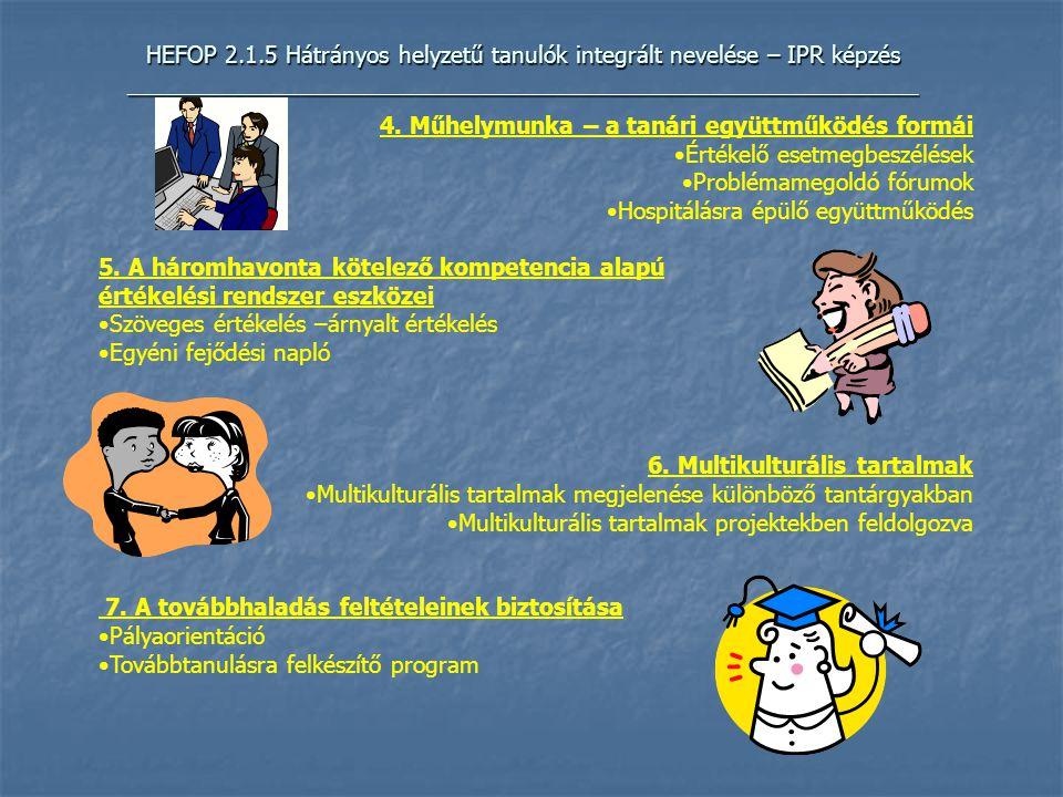 HEFOP 2.1.5 Hátrányos helyzetű tanulók integrált nevelése – IPR képzés _____________________________________________________________ 4.
