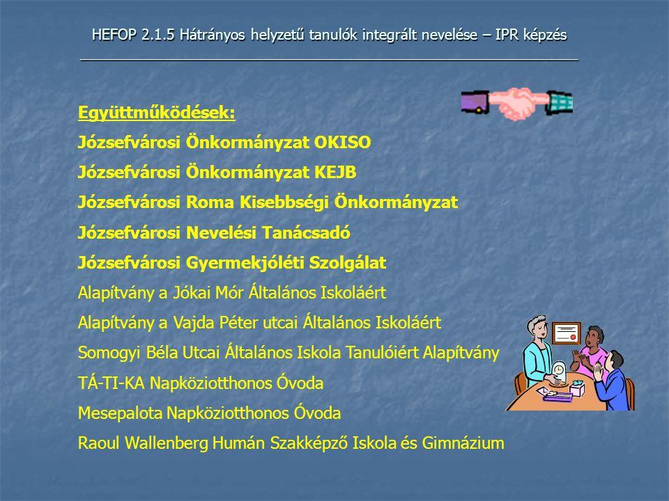 HEFOP 2.1.5 Hátrányos helyzetű tanulók integrált nevelése – IPR képzés _____________________________________________________________ Együttműködések: Józsefvárosi Önkormányzat OKISO Józsefvárosi Önkormányzat KEJB Józsefvárosi Roma Kisebbségi Önkormányzat Józsefvárosi Nevelési Tanácsadó Józsefvárosi Gyermekjóléti Szolgálat Alapítvány a Jókai Mór Általános Iskoláért Alapítvány a Vajda Péter utcai Általános Iskoláért Somogyi Béla Utcai Általános Iskola Tanulóiért Alapítvány TÁ-TI-KA Napköziotthonos Óvoda Mesepalota Napköziotthonos Óvoda Raoul Wallenberg Humán Szakképző Iskola és Gimnázium
