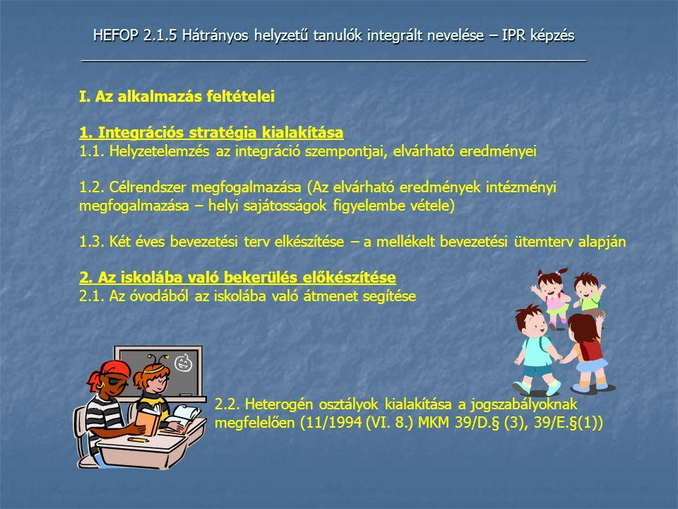 HEFOP 2.1.5 Hátrányos helyzetű tanulók integrált nevelése – IPR képzés _____________________________________________________________ I.