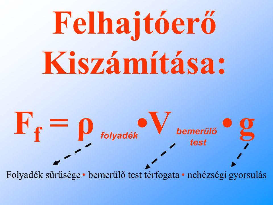 Felhajtóerő Kiszámítása: F f = ρ V g folyadék bemerülő test Folyadék sűrűsége bemerülő test térfogata nehézségi gyorsulás