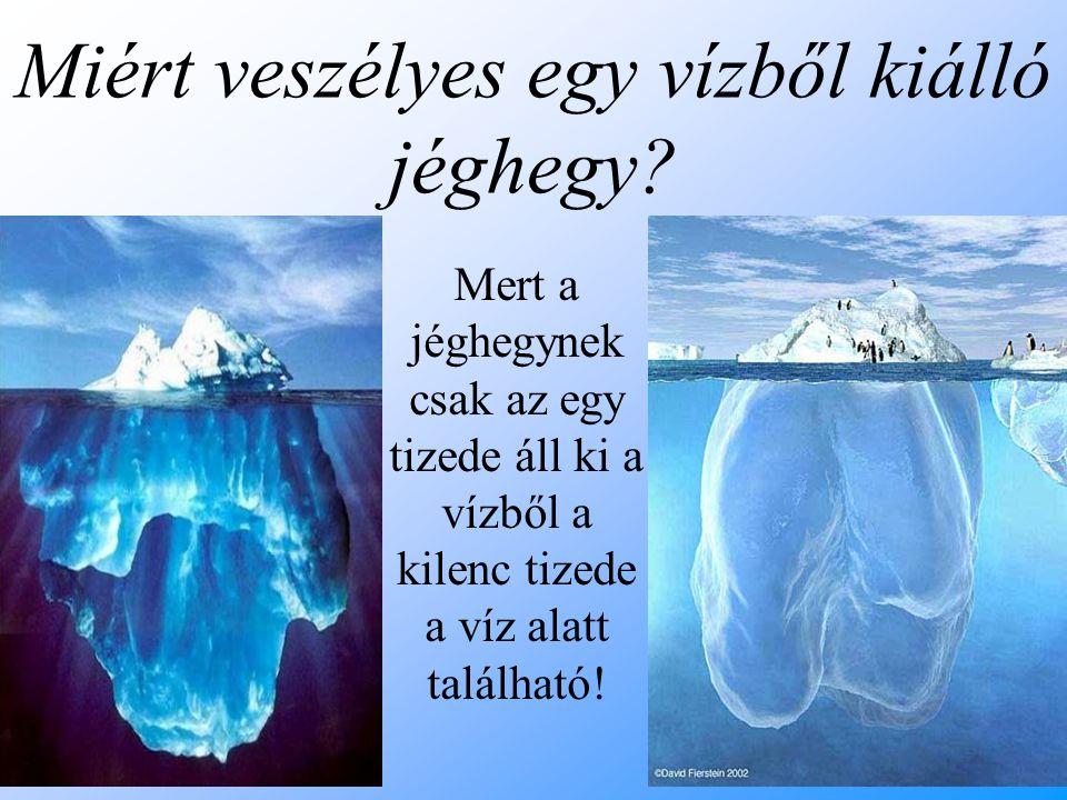 Miért veszélyes egy vízből kiálló jéghegy? Mert a jéghegynek csak az egy tizede áll ki a vízből a kilenc tizede a víz alatt található!