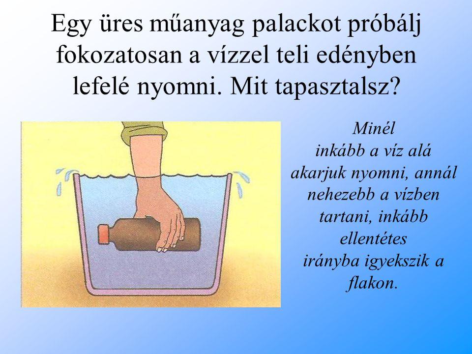 Egy üres műanyag palackot próbálj fokozatosan a vízzel teli edényben lefelé nyomni. Mit tapasztalsz? Minél inkább a víz alá akarjuk nyomni, annál nehe