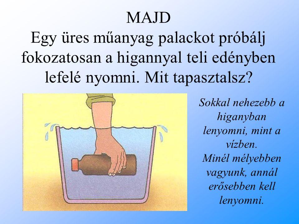 MAJD Egy üres műanyag palackot próbálj fokozatosan a higannyal teli edényben lefelé nyomni. Mit tapasztalsz? Sokkal nehezebb a higanyban lenyomni, min