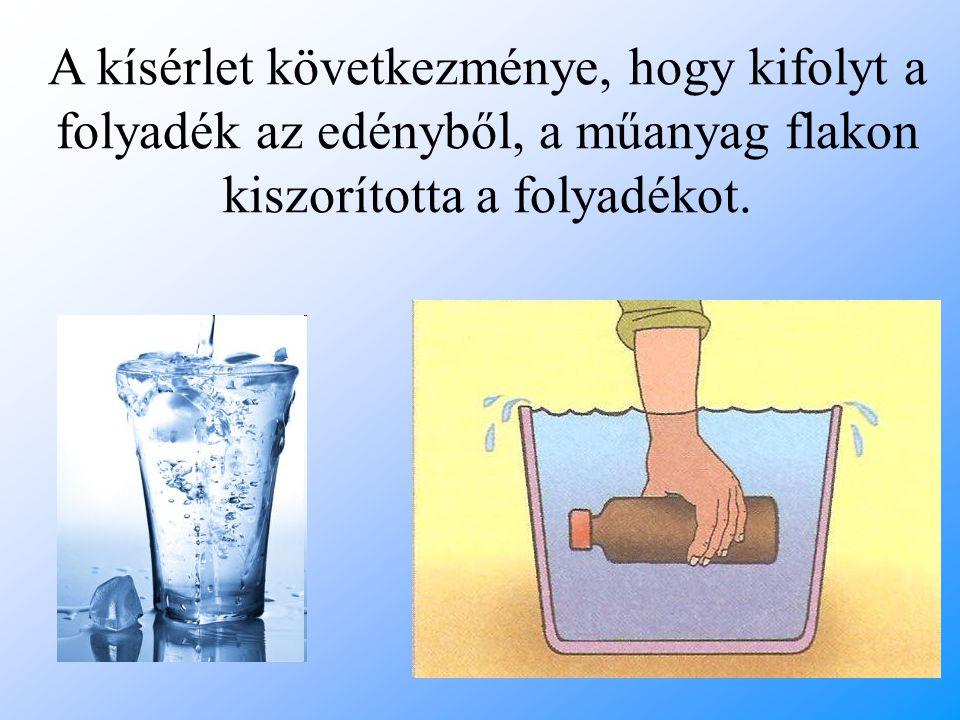 A kísérlet következménye, hogy kifolyt a folyadék az edényből, a műanyag flakon kiszorította a folyadékot.