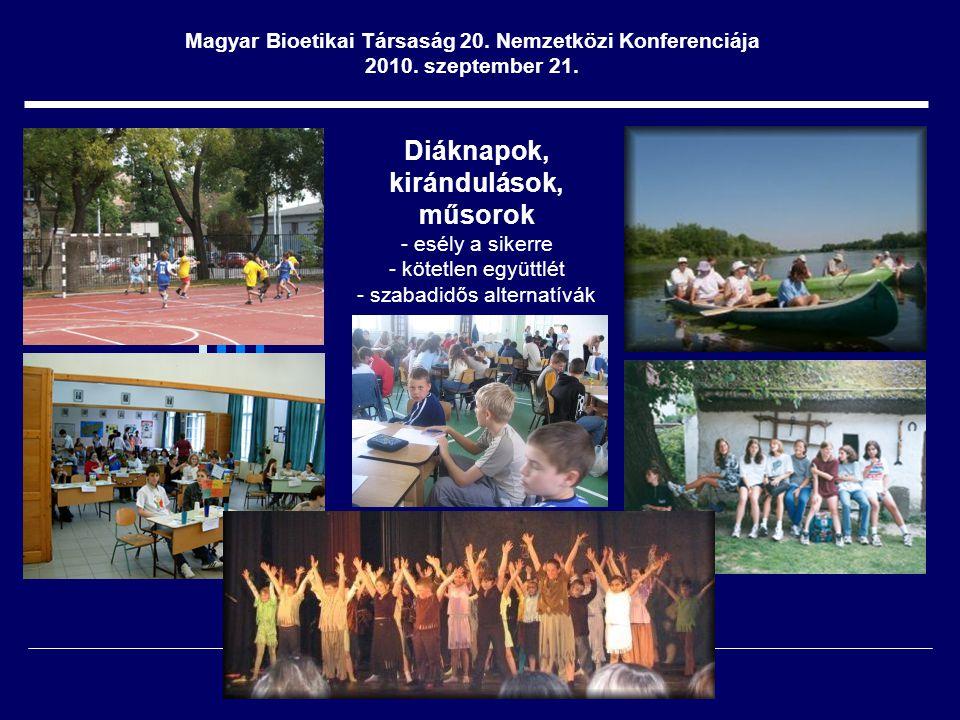 Diáknapok, kirándulások, műsorok - esély a sikerre - kötetlen együttlét - szabadidős alternatívák Magyar Bioetikai Társaság 20.