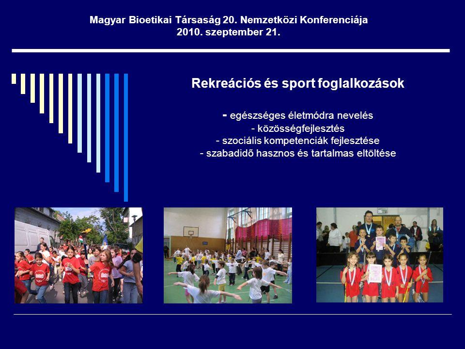 Rekreációs és sport foglalkozások - egészséges életmódra nevelés - közösségfejlesztés - szociális kompetenciák fejlesztése - szabadidő hasznos és tartalmas eltöltése Magyar Bioetikai Társaság 20.