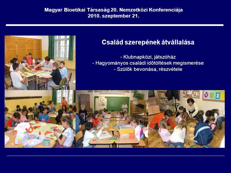 Család szerepének átvállalása - Klubnapközi, játszóház - Hagyományos családi időtöltések megismerése - Szülők bevonása, részvétele Magyar Bioetikai Társaság 20.