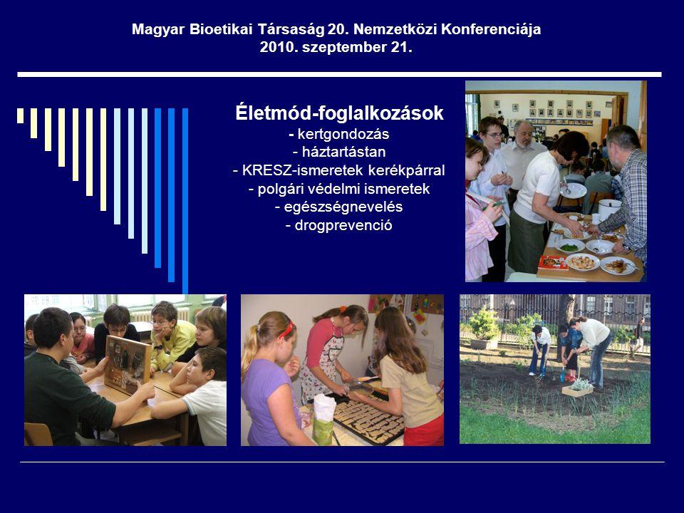 Lakókörnyezeti programok - iskola megismertetése a lakókörnyezettel - részvétel a kerület életében - környék lakosságának bevonása a nevelési folyamatba Magyar Bioetikai Társaság 20.