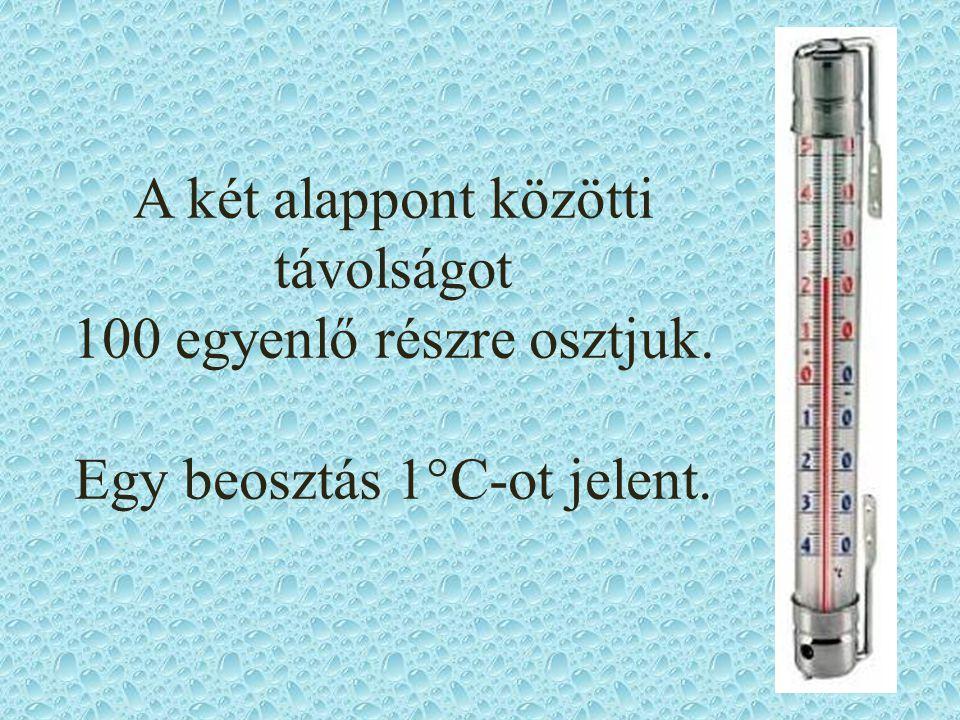 A két alappont közötti távolságot 100 egyenlő részre osztjuk. Egy beosztás 1°C-ot jelent.