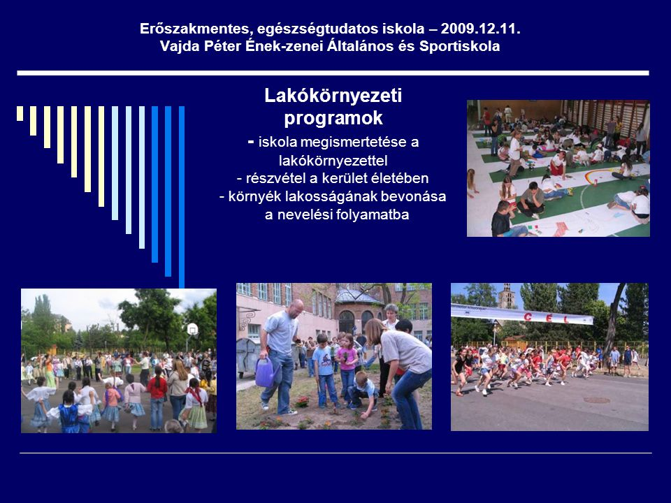 Lakókörnyezeti programok - iskola megismertetése a lakókörnyezettel - részvétel a kerület életében - környék lakosságának bevonása a nevelési folyamat