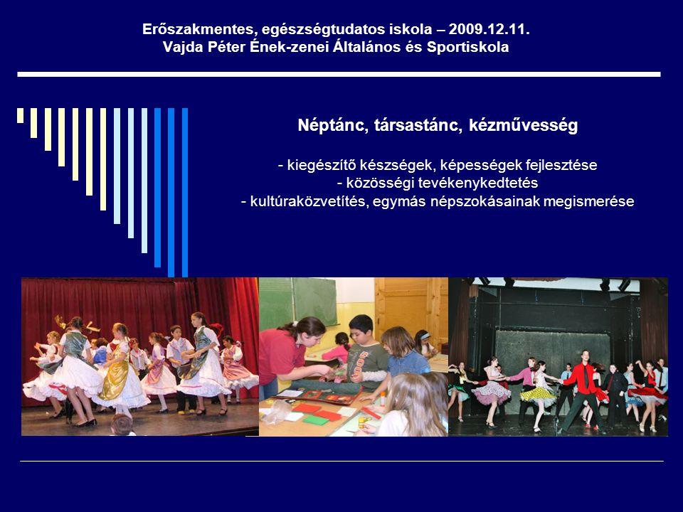 Néptánc, társastánc, kézművesség - kiegészítő készségek, képességek fejlesztése - közösségi tevékenykedtetés - kultúraközvetítés, egymás népszokásaina