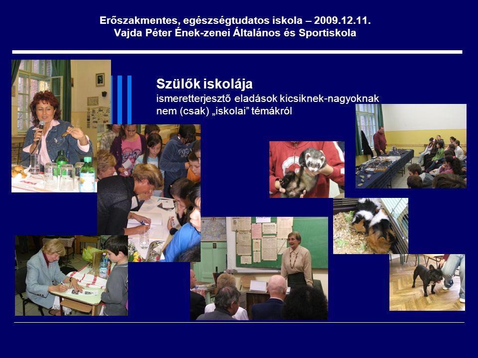 """Szülők iskolája ismeretterjesztő eladások kicsiknek-nagyoknak nem (csak) """"iskolai"""" témákról Erőszakmentes, egészségtudatos iskola – 2009.12.11. Vajda"""