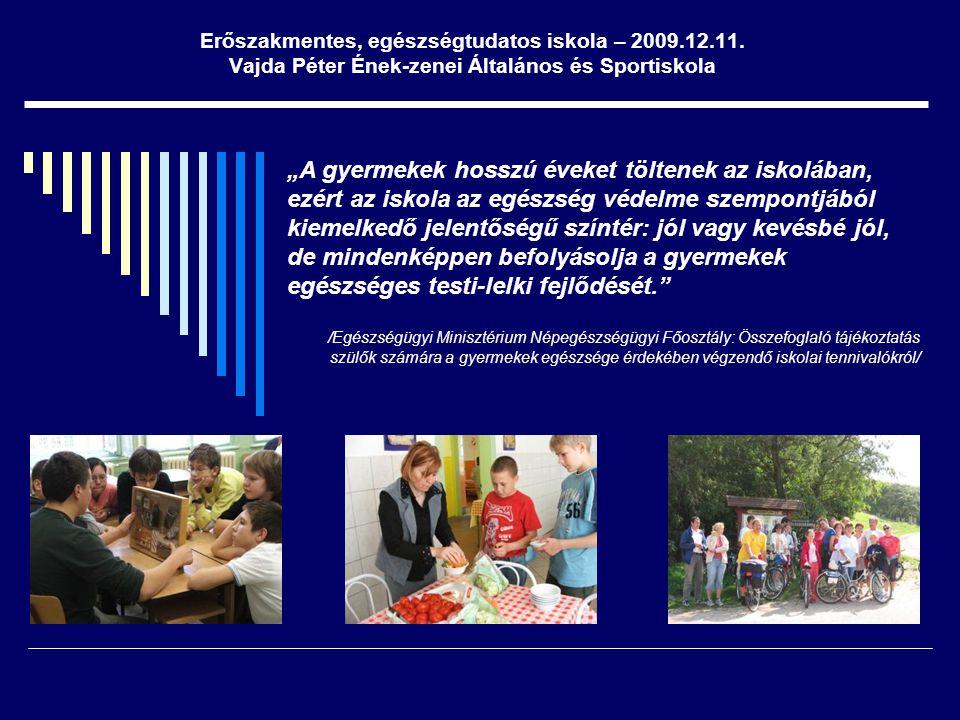 """Erőszakmentes, egészségtudatos iskola – 2009.12.11. Vajda Péter Ének-zenei Általános és Sportiskola """"A gyermekek hosszú éveket töltenek az iskolában,"""