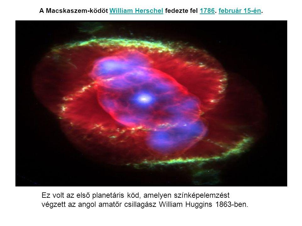 A Macskaszem-ködöt William Herschel fedezte fel 1786. február 15-én.William Herschel1786február 15-én Ez volt az első planetáris köd, amelyen színképe