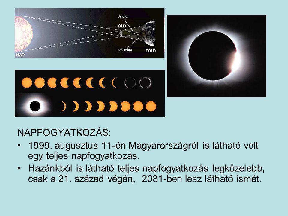 NAPFOGYATKOZÁS: 1999. augusztus 11-én Magyarországról is látható volt egy teljes napfogyatkozás. Hazánkból is látható teljes napfogyatkozás legközeleb