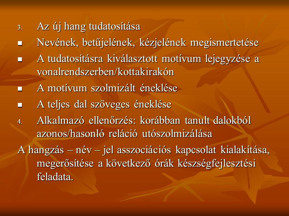3. Az új hang tudatosítása Nevének, betűjelének, kézjelének megismertetése Nevének, betűjelének, kézjelének megismertetése A tudatosításra kiválasztot
