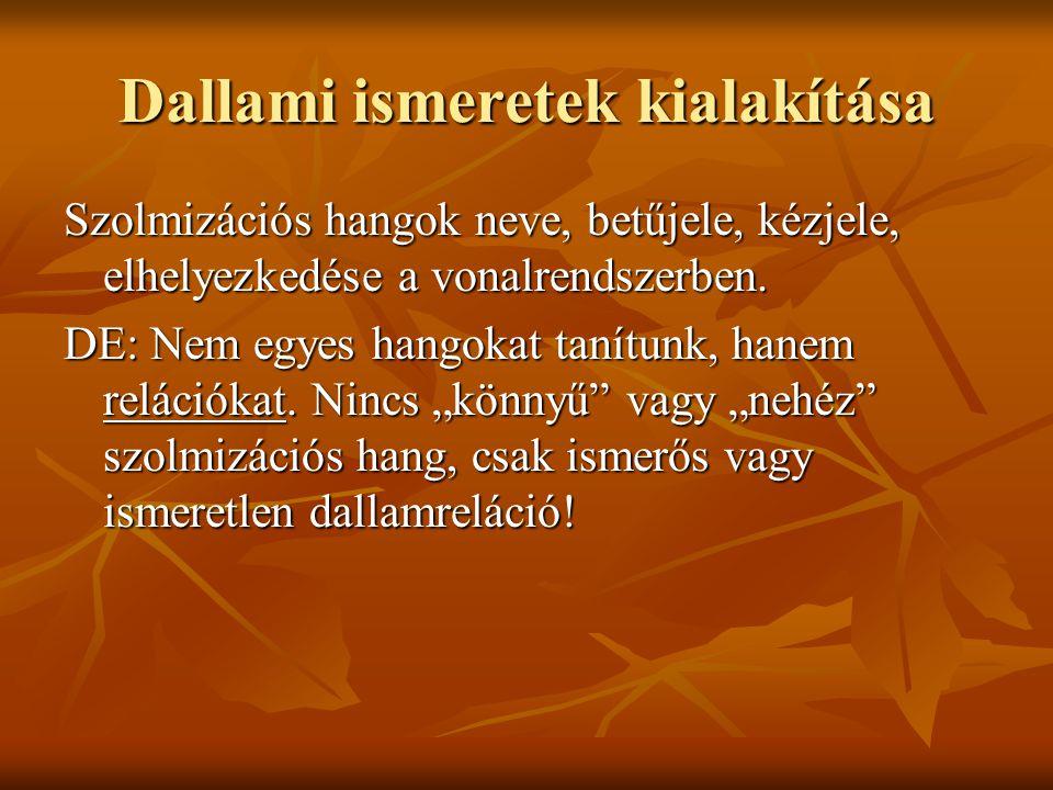 Dallami ismeretek kialakítása Szolmizációs hangok neve, betűjele, kézjele, elhelyezkedése a vonalrendszerben. DE: Nem egyes hangokat tanítunk, hanem r