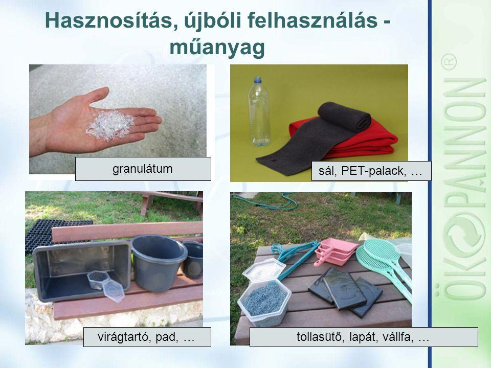 Hasznosítás, újbóli felhasználás - műanyag sál, PET-palack, … granulátum virágtartó, pad, … tollasütő, lapát, vállfa, …