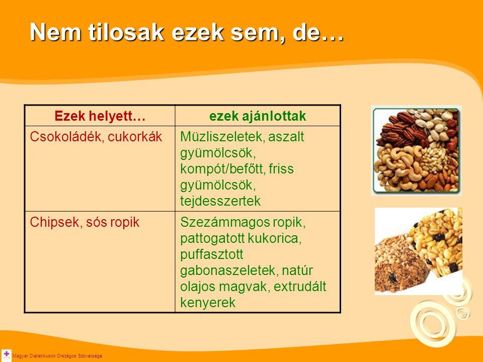 Magyar Dietetikusok Országos Szövetsége Nem tilosak ezek sem, de… Ezek helyett…ezek ajánlottak Csokoládék, cukorkákMüzliszeletek, aszalt gyümölcsök, kompót/befőtt, friss gyümölcsök, tejdesszertek Chipsek, sós ropikSzezámmagos ropik, pattogatott kukorica, puffasztott gabonaszeletek, natúr olajos magvak, extrudált kenyerek