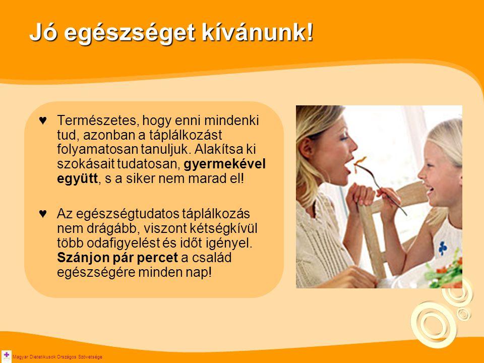 Magyar Dietetikusok Országos Szövetsége Jó egészséget kívánunk! ♥Természetes, hogy enni mindenki tud, azonban a táplálkozást folyamatosan tanuljuk. Al