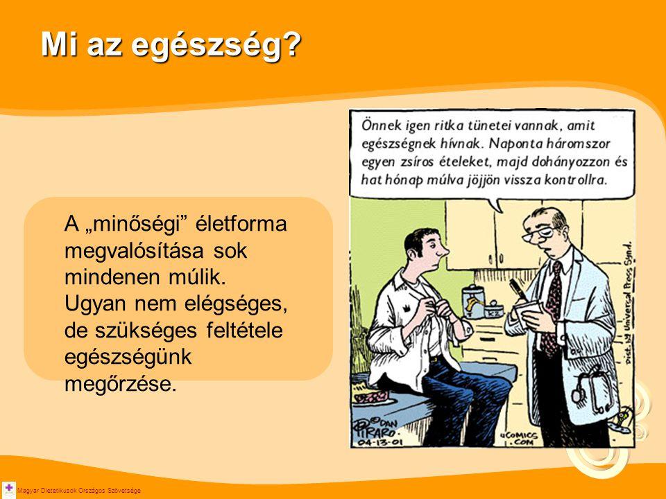 """Magyar Dietetikusok Országos Szövetsége Mi az egészség? A """"minőségi"""" életforma megvalósítása sok mindenen múlik. Ugyan nem elégséges, de szükséges fel"""