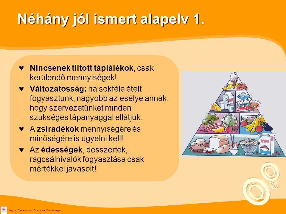 Magyar Dietetikusok Országos Szövetsége Néhány jól ismert alapelv 1. ♥Nincsenek tiltott táplálékok, csak kerülendő mennyiségek! ♥Változatosság: ha sok