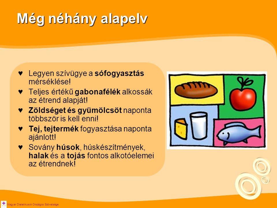 Magyar Dietetikusok Országos Szövetsége Még néhány alapelv ♥Legyen szívügye a sófogyasztás mérséklése! ♥Teljes értékű gabonafélék alkossák az étrend a