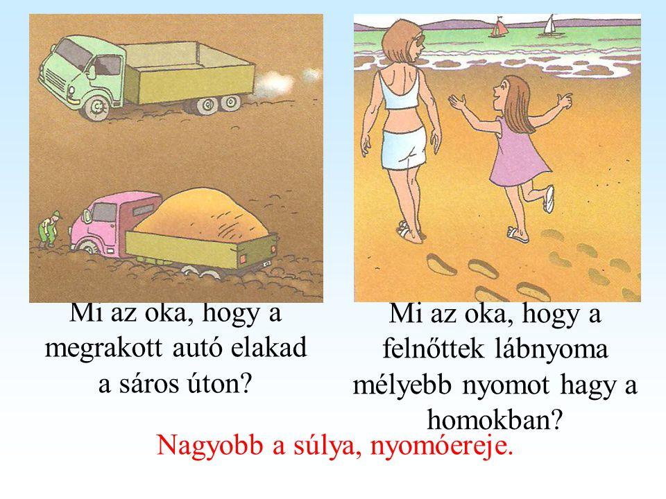 Mi az oka, hogy a megrakott autó elakad a sáros úton? Mi az oka, hogy a felnőttek lábnyoma mélyebb nyomot hagy a homokban? Nagyobb a súlya, nyomóereje