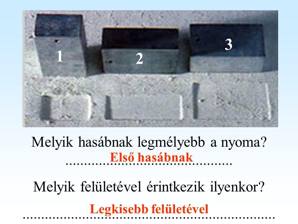 1 3 2 Melyik hasábnak legmélyebb a nyoma?............................................. Melyik felületével érintkezik ilyenkor?........................