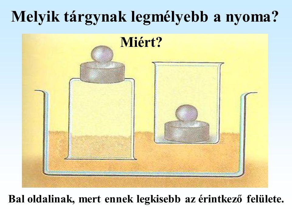 Melyik tárgynak legmélyebb a nyoma? Miért? Bal oldalinak, mert ennek legkisebb az érintkező felülete.