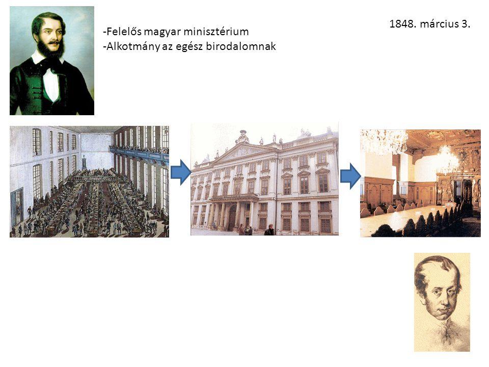 1848. március 3. -Felelős magyar minisztérium -Alkotmány az egész birodalomnak