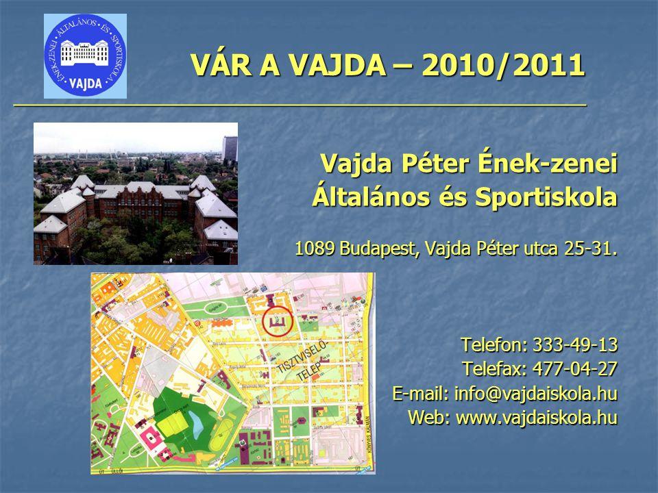 VÁR A VAJDA – 2010/2011 ________________________________________________ Vajda Péter Ének-zenei Általános és Sportiskola 1089 Budapest, Vajda Péter utca 25-31.