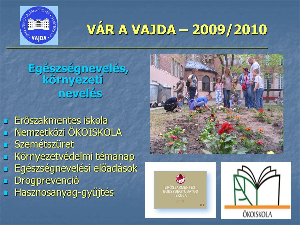 VÁR A VAJDA – 2009/2010 ________________________________________________ Egészségnevelés, környezeti nevelés nevelés Erőszakmentes iskola Erőszakmentes iskola Nemzetközi ÖKOISKOLA Nemzetközi ÖKOISKOLA Szemétszüret Szemétszüret Környezetvédelmi témanap Környezetvédelmi témanap Egészségnevelési előadások Egészségnevelési előadások Drogprevenció Drogprevenció Hasznosanyag-gyűjtés Hasznosanyag-gyűjtés