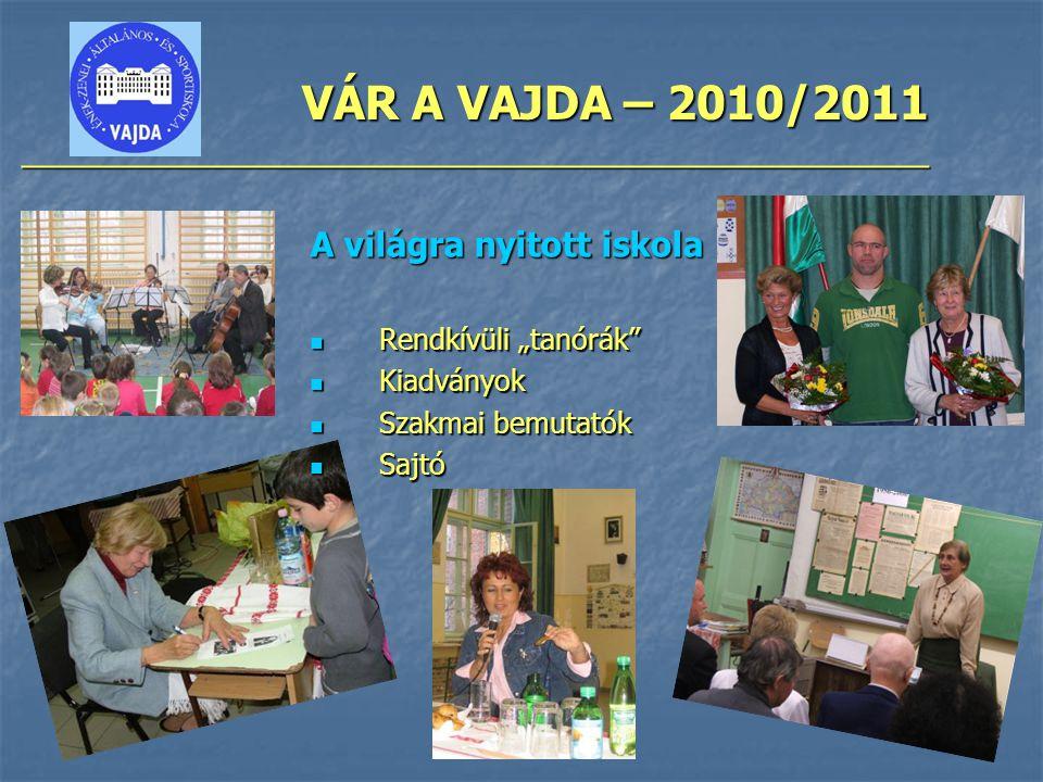 """VÁR A VAJDA – 2010/2011 ________________________________________________ A világra nyitott iskola Rendkívüli """"tanórák Rendkívüli """"tanórák Kiadványok Kiadványok Szakmai bemutatók Szakmai bemutatók Sajtó Sajtó"""