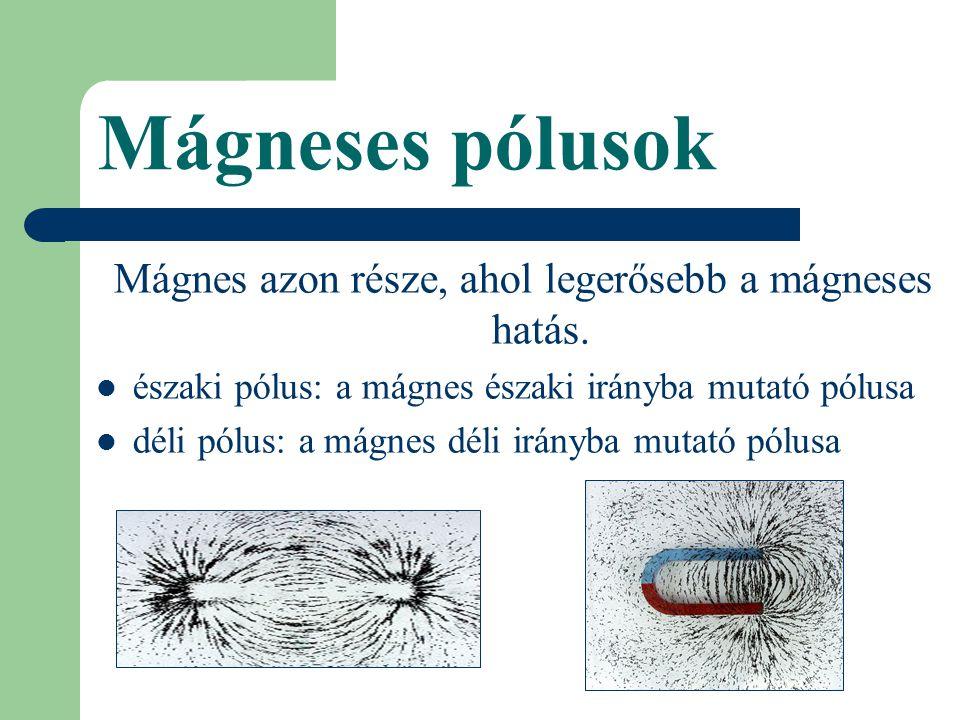 Mágneses pólusok Mágnes azon része, ahol legerősebb a mágneses hatás.