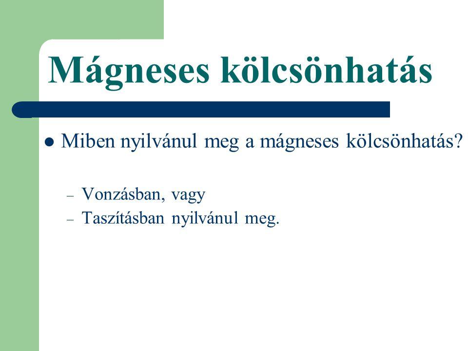 Mágneses kölcsönhatás Miben nyilvánul meg a mágneses kölcsönhatás.