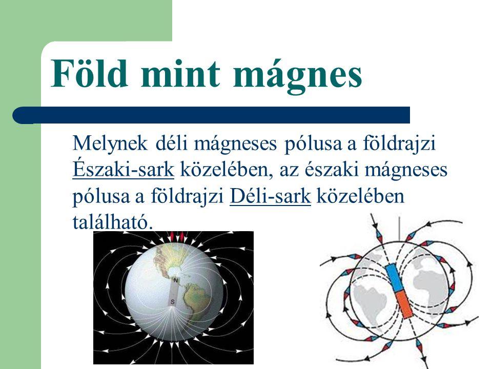 Föld mint mágnes Melynek déli mágneses pólusa a földrajzi Északi-sark közelében, az északi mágneses pólusa a földrajzi Déli-sark közelében található.