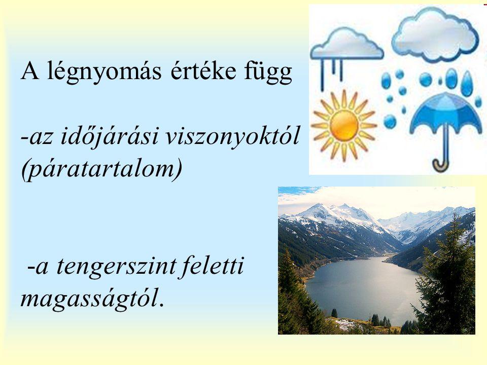 A légnyomás értéke függ -az időjárási viszonyoktól (páratartalom) -a tengerszint feletti magasságtól.