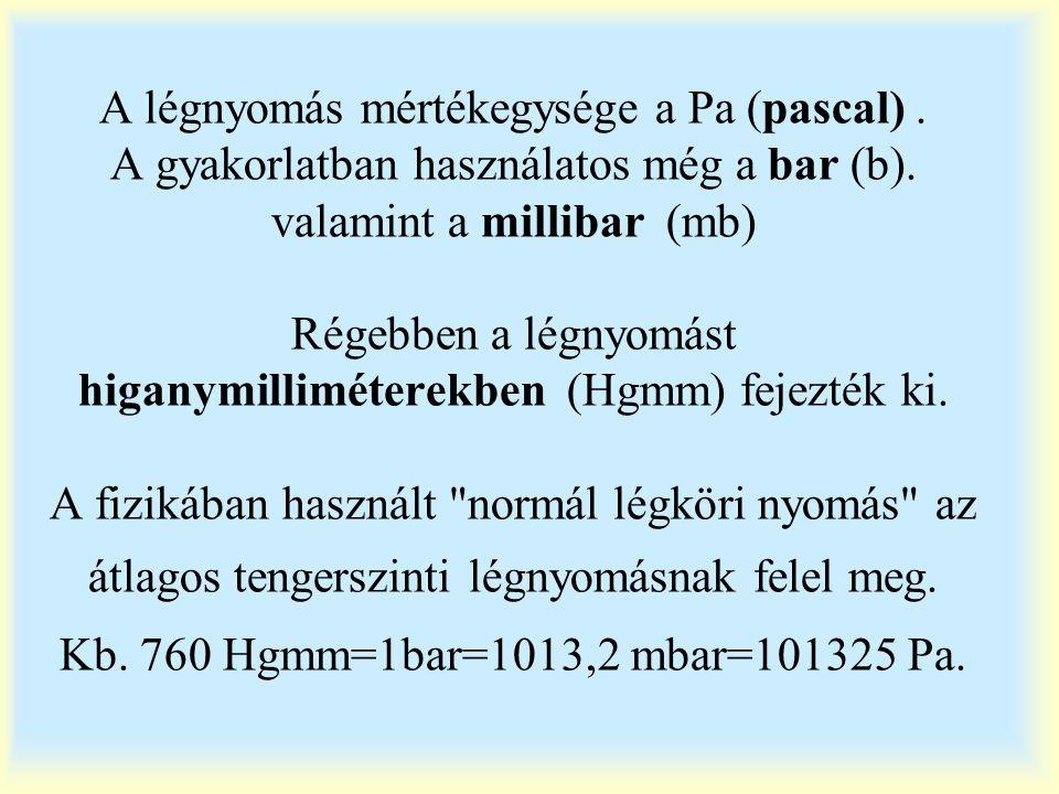 A légnyomás mértékegysége a Pa (pascal). A gyakorlatban használatos még a bar (b). valamint a millibar (mb) Régebben a légnyomást higanymilliméterekbe