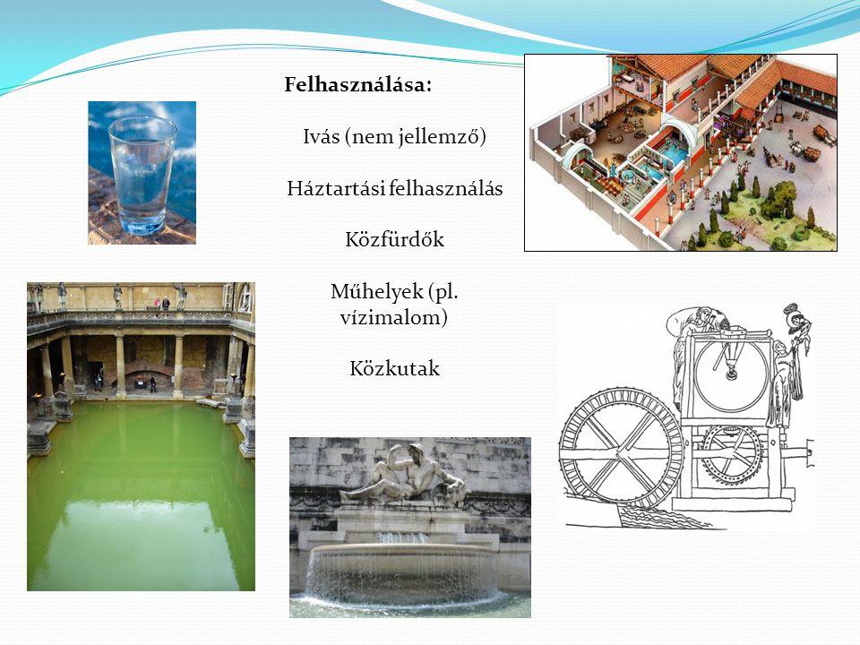Felhasználása: Ivás (nem jellemző) Háztartási felhasználás Közfürdők Műhelyek (pl.