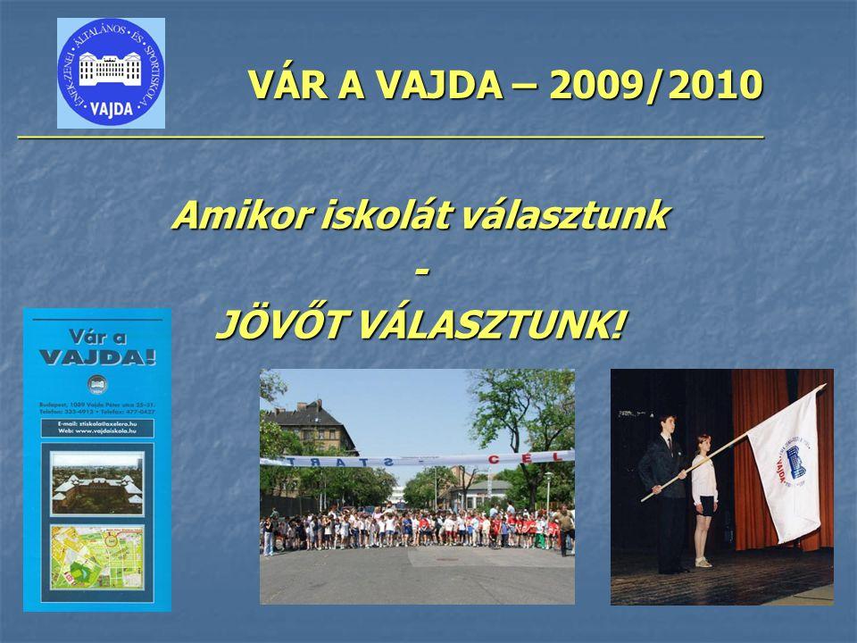 VÁR A VAJDA – 2009/2010 ________________________________________________ Amikor iskolát választunk - JÖVŐT VÁLASZTUNK!