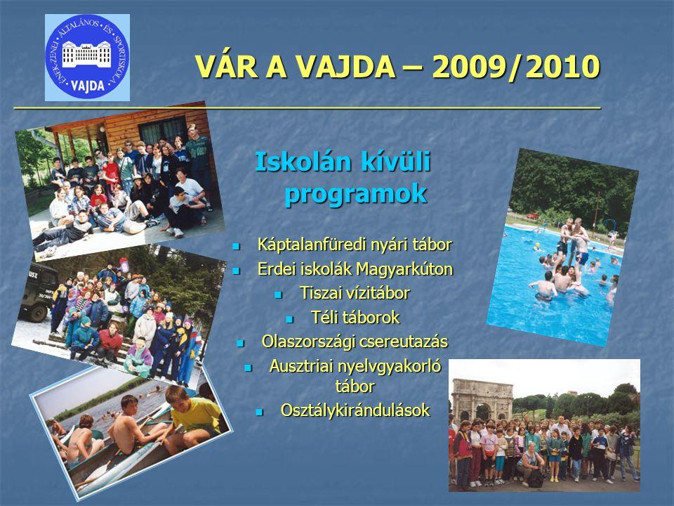 VÁR A VAJDA – 2009/2010 ________________________________________________ Iskolán kívüli programok Káptalanfüredi nyári tábor Káptalanfüredi nyári tábo