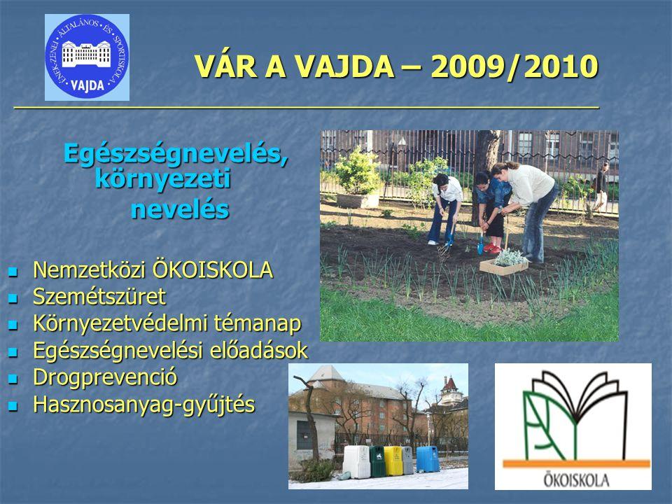 VÁR A VAJDA – 2009/2010 ________________________________________________ Egészségnevelés, környezeti nevelés nevelés Nemzetközi ÖKOISKOLA Nemzetközi Ö