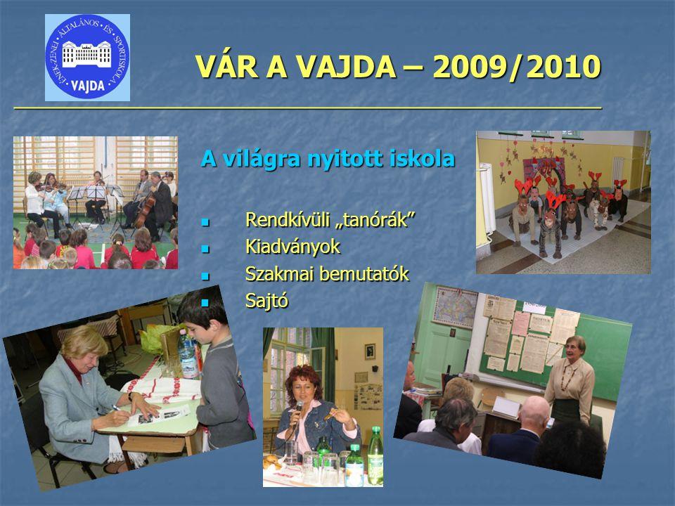 """VÁR A VAJDA – 2009/2010 ________________________________________________ A világra nyitott iskola Rendkívüli """"tanórák"""" Rendkívüli """"tanórák"""" Kiadványok"""