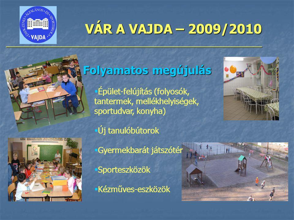 VÁR A VAJDA – 2009/2010 ________________________________________________ Folyamatos megújulás  Épület-felújítás (folyosók, tantermek, mellékhelyisége