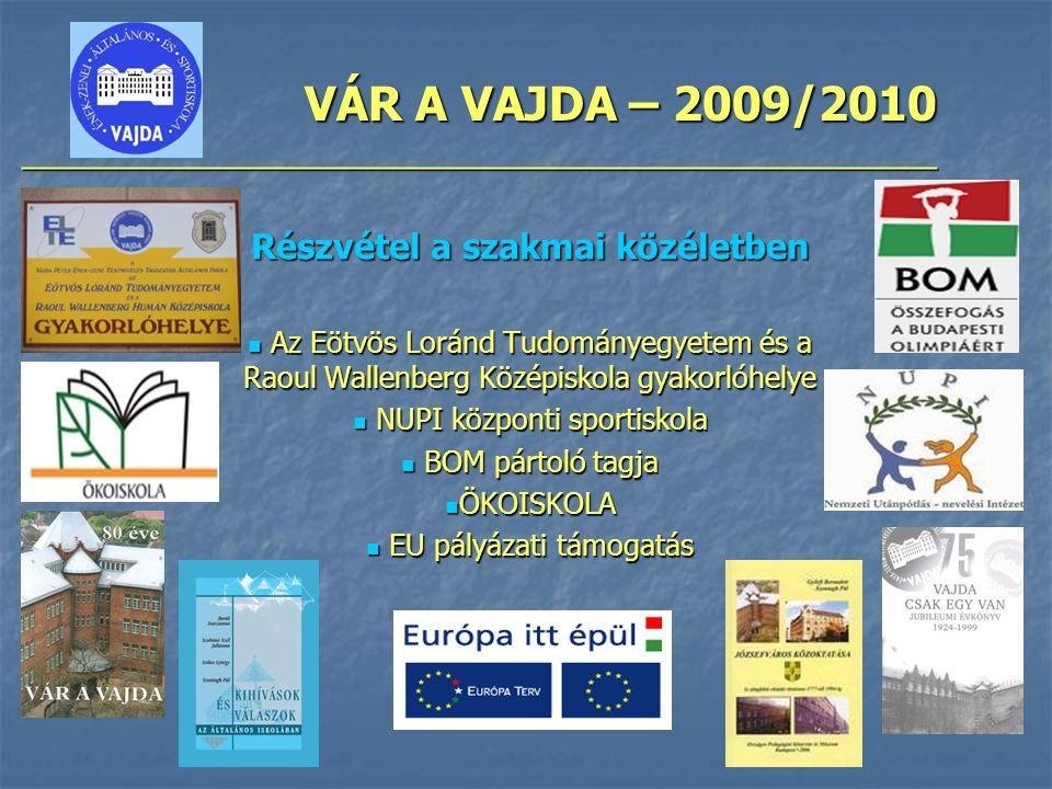 VÁR A VAJDA – 2009/2010 ________________________________________________ Részvétel a szakmai közéletben Az Eötvös Loránd Tudományegyetem és a Raoul Wa