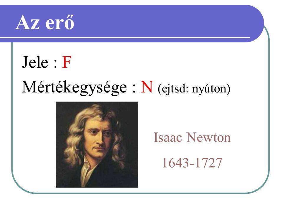 Jele : F Mértékegysége : N (ejtsd: nyúton) Az erő Isaac Newton 1643-1727