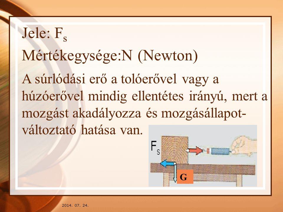 2014. 07. 24. Jele: F s Mértékegysége:N (Newton) A súrlódási erő a tolóerővel vagy a húzóerővel mindig ellentétes irányú, mert a mozgást akadályozza é